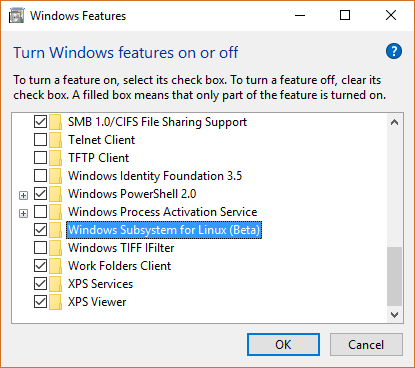 Enabling the Windows Subsystem for Linux
